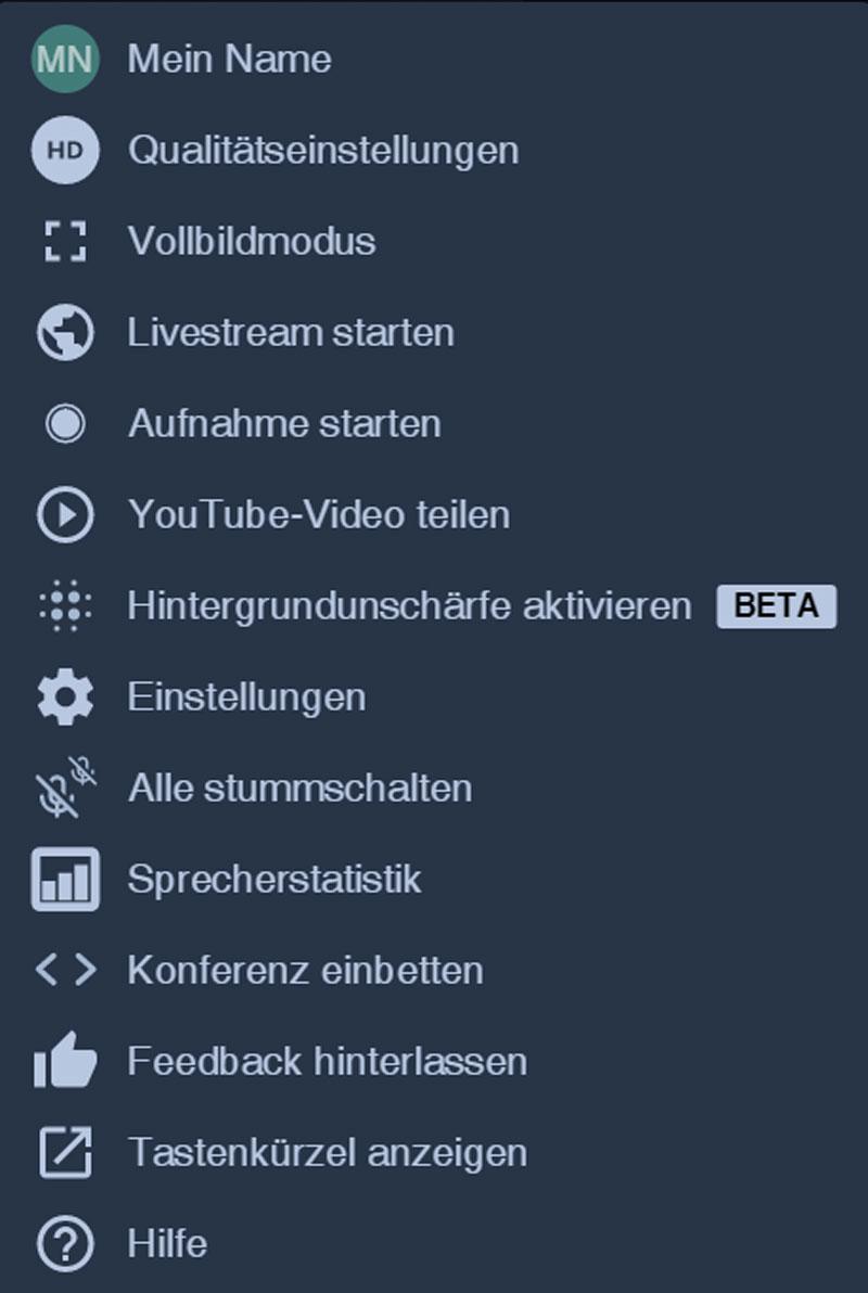 Live-Einrichtungsberatung Anzeige-Menü-Funktionen