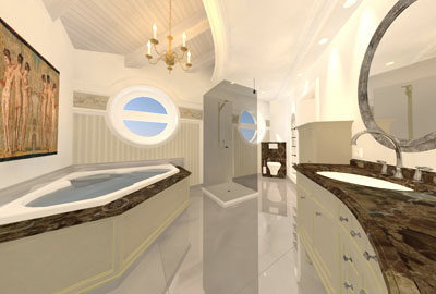 Bild Luxusbadezimmer im, klassisch- eleganten Wohnstil.