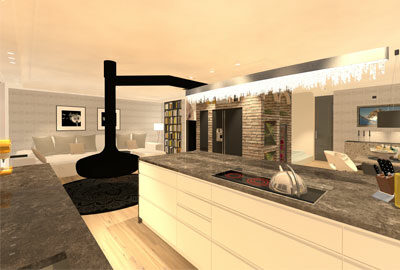 Bild stylisch, moderne Küche mit Ess- und Wohnzimmer.