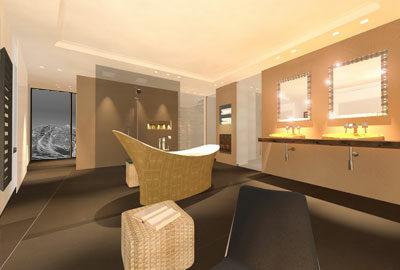 Bild Luxus-Badezimmer, Wanne mit Blattgold.