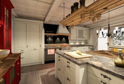 Bild Landhausküche mit Zusatzherd.