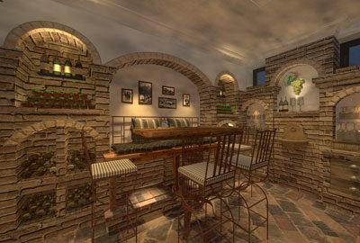 Bild privater Weinkeller mit alten Ziegeln, Barbank und Bartisch.