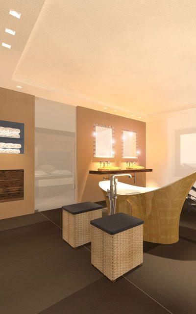 Bild Luxus-Badezimmer, Wanne und Becken vergoldet, Wände mit Kunstharz beschichtet, Einrichtungsberatung Innenraumgestaltung atelier Adi Sachs