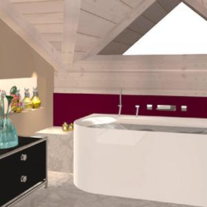 Abbildung eines Badezimmers nach erfolgter Altbausanierung.