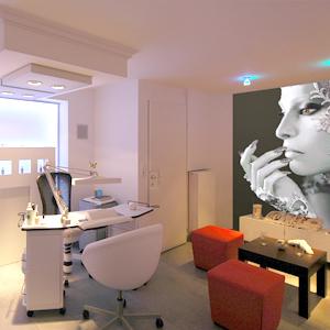 Abbildung einer Inneneinrichtung eines modern gestalteten Nagelstudios.