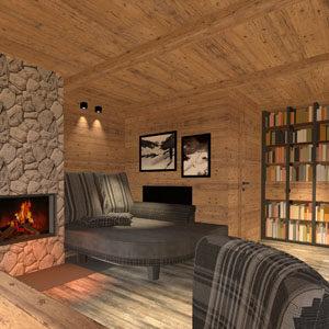 Abbildung Wohnzimmer im Chaletstil. Gestaltet von Atelier Adi Sachs Innsbruck.